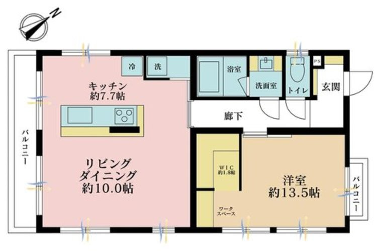 1LDK、価格4980万円、専有面積58.05m2、バルコニー面積4.95m2