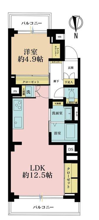 1LDK、価格3590万円、専有面積45.78m2、バルコニー面積7.15m2