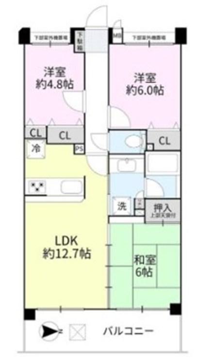 3LDK+S(納戸)、専有面積64.88m2、