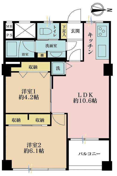 2LDK、価格3980万円、専有面積45.38m2