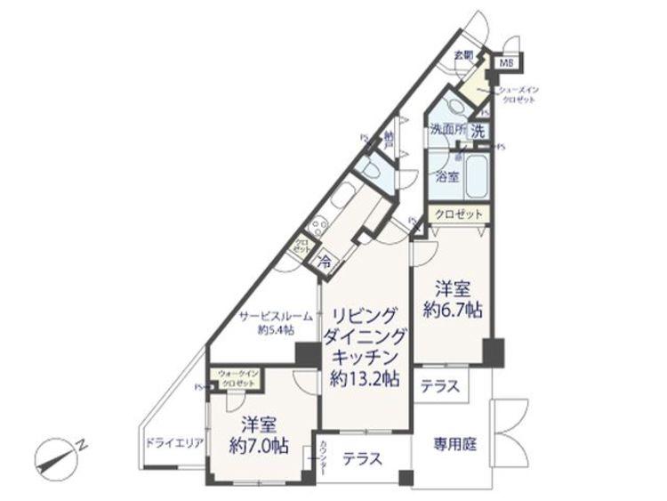 2LDK+S(納戸)、専有面積74.34m2