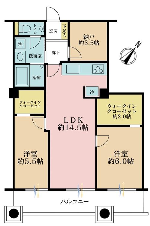 2LDK+S(納戸)、価格6980万円、専有面積69.86m2、バルコニー面積11.38m2