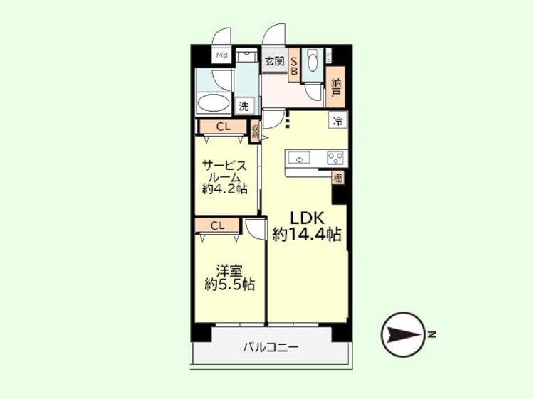 1SLDK+納戸 専有面積55.44平米、バルコニー面積8.4平米
