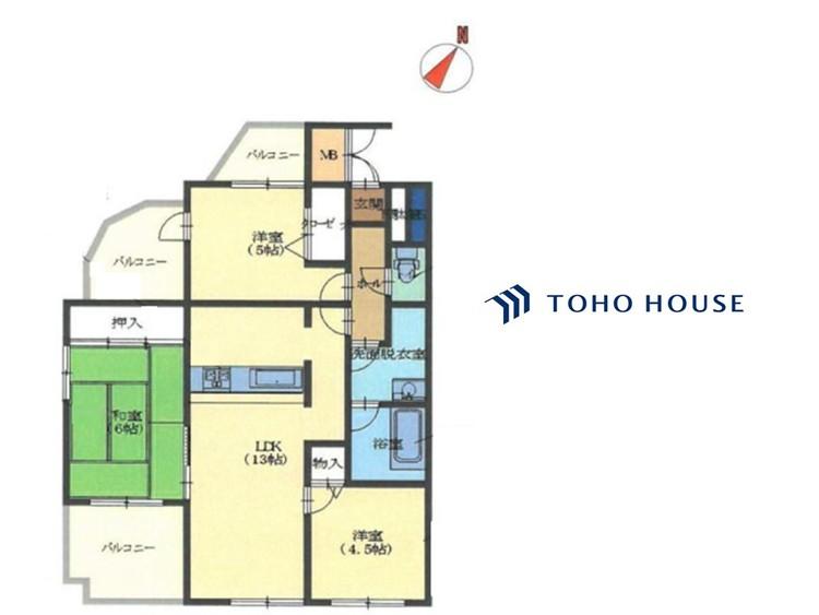 3LDK、価格2680万円、専有面積60.38平米、バルコニー面積8.42平米 間取り図