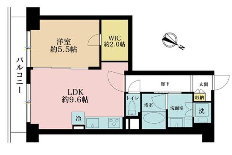 1LDK、価格3280万円、専有面積45.57m2、バルコニー面積6m2
