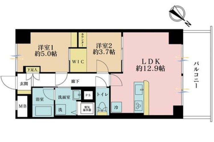 2LDK、価格3449万円、専有面積51.83m2、バルコニー面積6.53m2