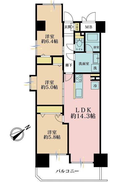 3LDK、価格3590万円、専有面積67.65m2、バルコニー面積5.3m2