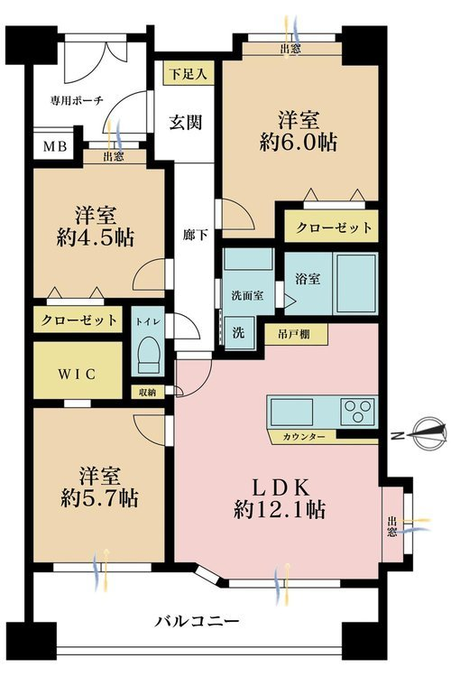 3LDK、価格4099万円、専有面積63.11m2、バルコニー面積11.14m2