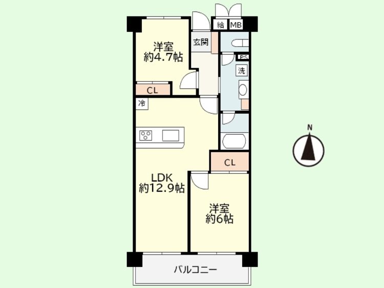 2LDK 専有面積54.08平米、バルコニー面積7.80平米