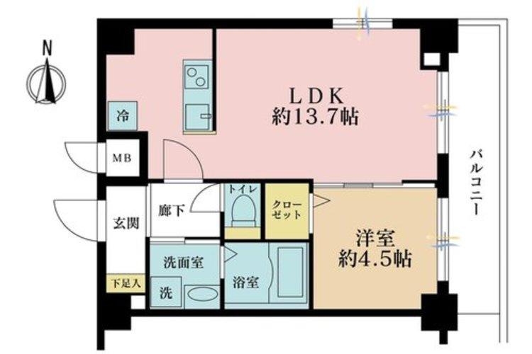 1LDK、価格3380万円、専有面積42m2、バルコニー面積7.2m2