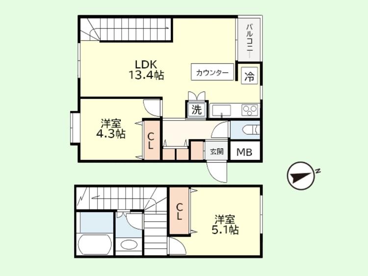 2LDK 専有面積62.4平米、バルコニー面積2.00平米