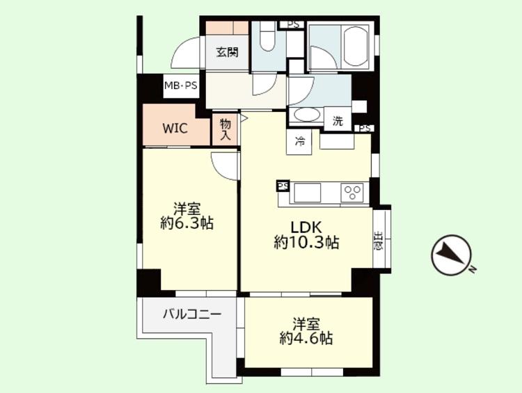 2LDK 専有面積51.31平米、バルコニー面積3.69平米