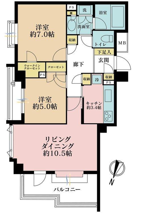 2LDK、価格5480万円、専有面積62.76m2、バルコニー面積8.22m2