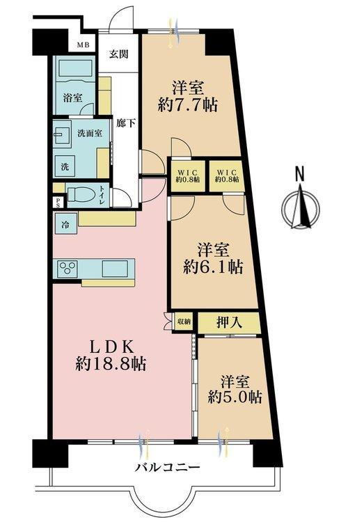 3LDK、価格3980万円、専有面積81.13m2、バルコニー面積11.53m2