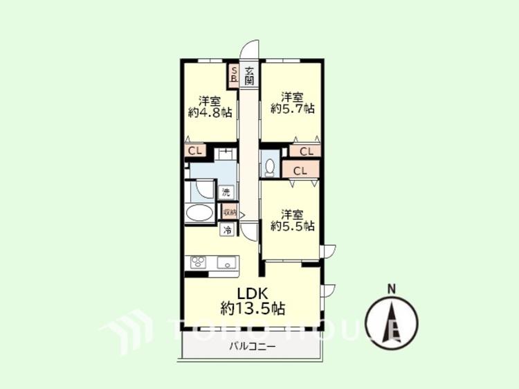 3LDK 専有面積69平米、バルコニー面積8.36平米