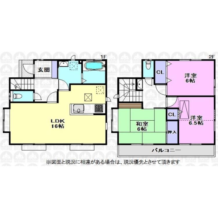 16帖の広さがあるLDKに各居室も6帖以上の広さがあるのでゆとりのある広さがある間取りです。LDKと和室には出窓が付いているので更に広く感じていただけます。