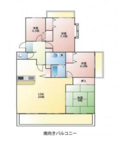 プロムナード桜台6番街 4階 ポカポカの3面バルコニー!の物件画像