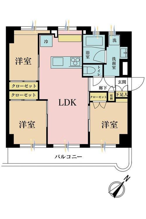 3LDK、価格3680万円、専有面積56.16m2、バルコニー面積7.64m2