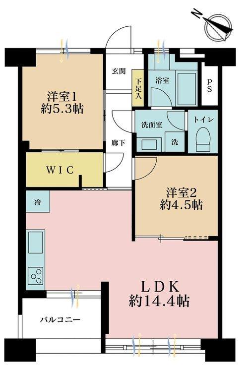 2LDK、価格3590万円、専有面積56.33m2、バルコニー面積3.92m2