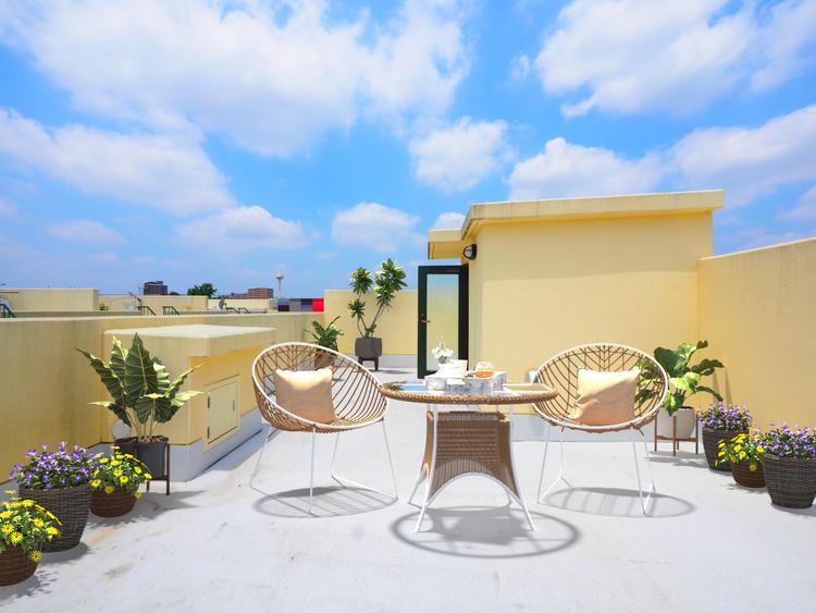 ※最新の画像処理技術で実際の屋上に家財を設置したイメージを再現