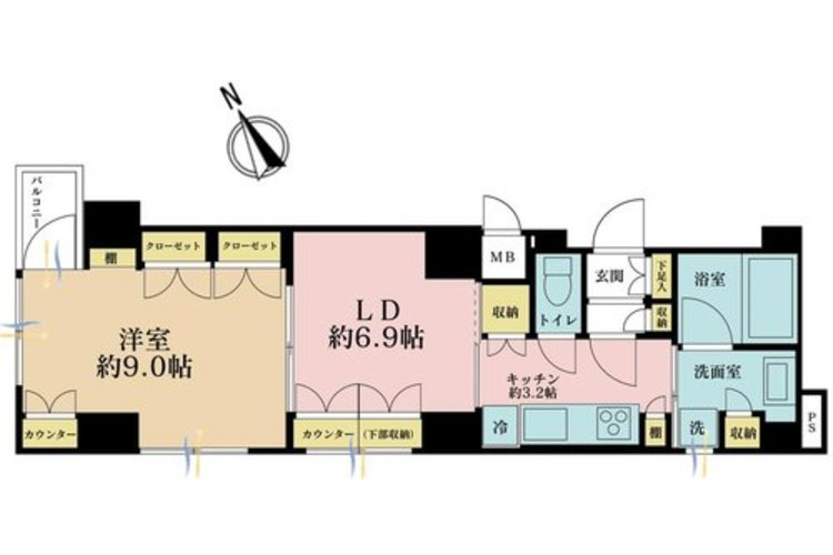 1LDK、価格4980万円、専有面積40.81m2、バルコニー面積1.65m2