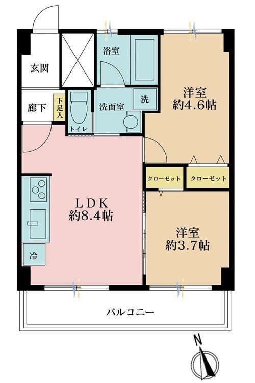 2LDK、価格3180万円、専有面積42m2、バルコニー面積4.68m2
