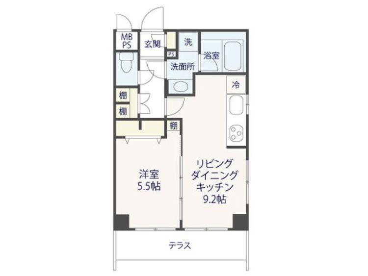 1LDK、専有面積37.5m2、専用庭面積14.02m2