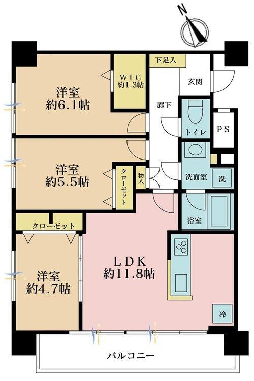 3LDK、価格4350万円、専有面積64.24m2、バルコニー面積8.1m2