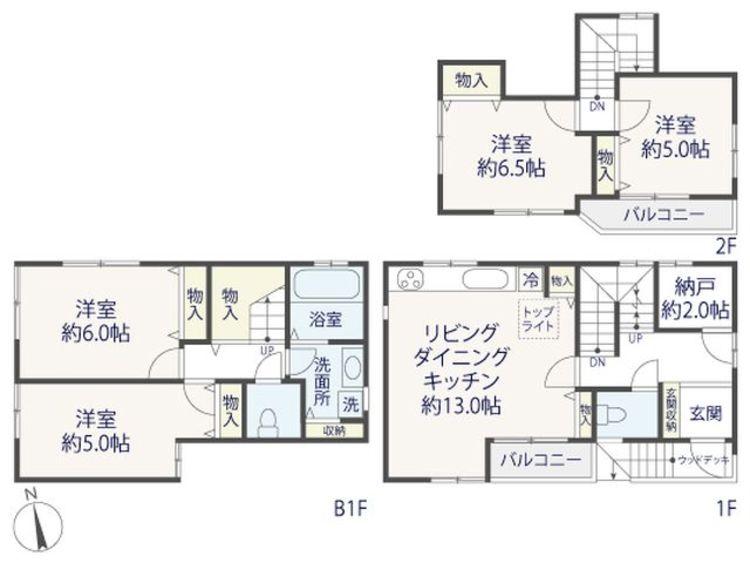 4LDK+S(納戸)、土地面積67.03m2、建物面積95.15m2