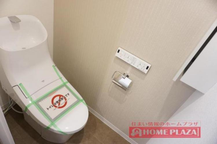 節水効果がありお手入れがしやすいタンク一体型トイレを採用しました!