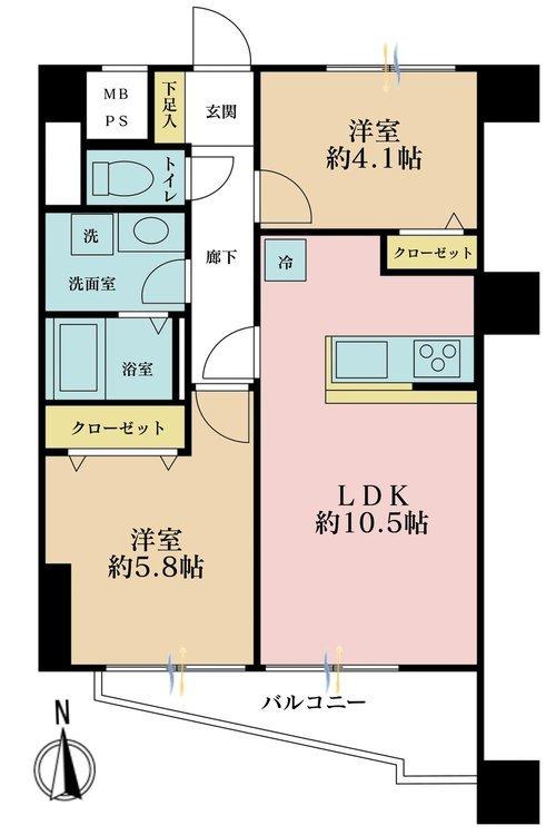 2LDK、価格4380万円、専有面積48.6m2、バルコニー面積4.9m2