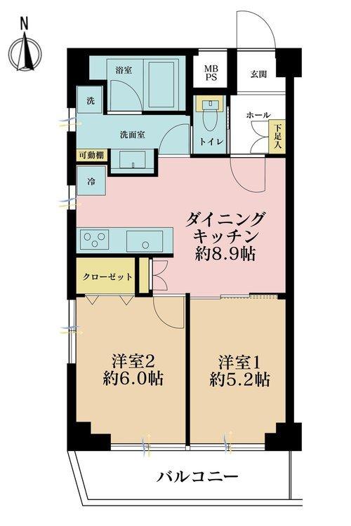 2DK、価格3190万円、専有面積47.94m2、バルコニー面積5.37m2