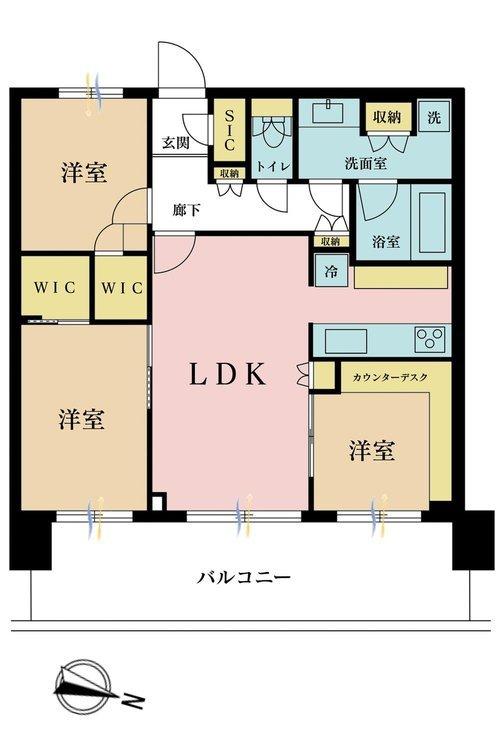 3LDK、価格8280万円、専有面積70.55m2、バルコニー面積17.6m2