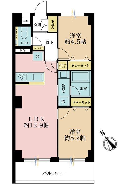 2LDK、価格4380万円、専有面積53.46m2、バルコニー面積8.1m2