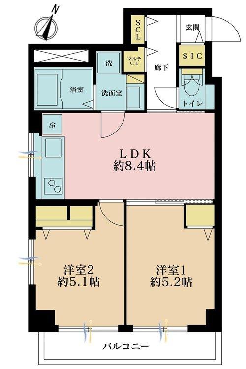2LDK、価格3199万円、専有面積46.14m2、バルコニー面積4.82m2