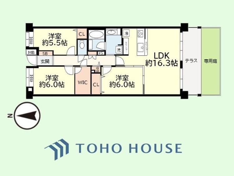 3LDK 専有面積81.51平米、テラス面積10.2平米、専用庭面積18平米