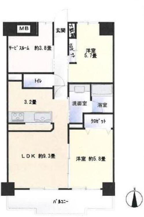 ◇2LDK+S◇専有面積:60.00m2◇バルコニー面積:9.66m2