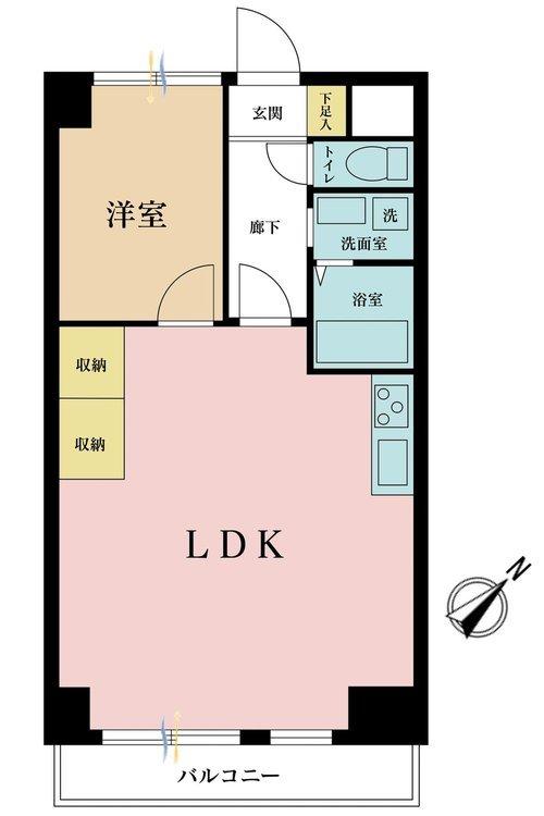 1LDK、価格3380万円、専有面積40.68m2、バルコニー面積4.33m2