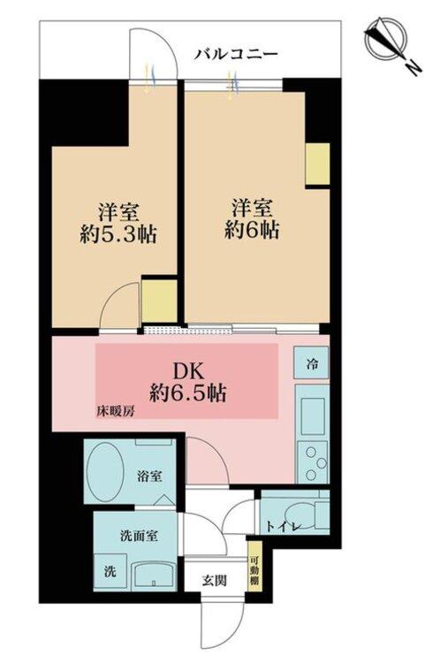 2DK、価格5780万円、専有面積43.07m2、バルコニー面積5.2m2