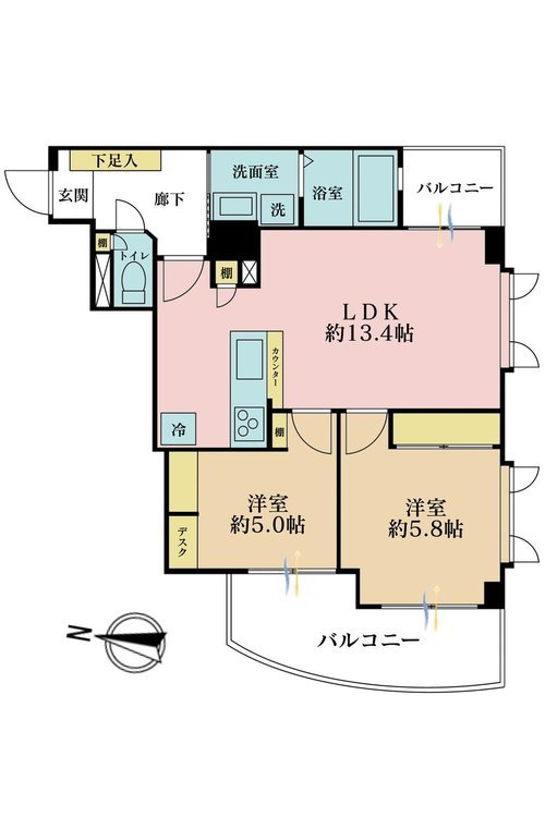 2LDK、価格5980万円、専有面積53.85m2、バルコニー面積10.53m2