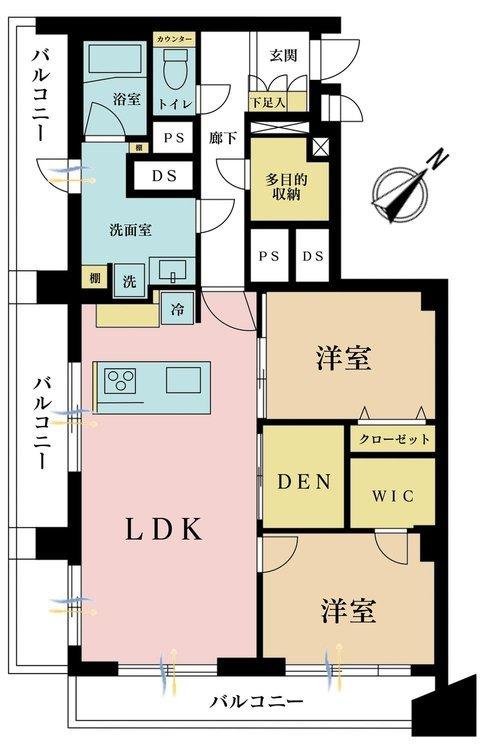 2LDK、価格7180万円、専有面積75.62m2、バルコニー面積17.85m2