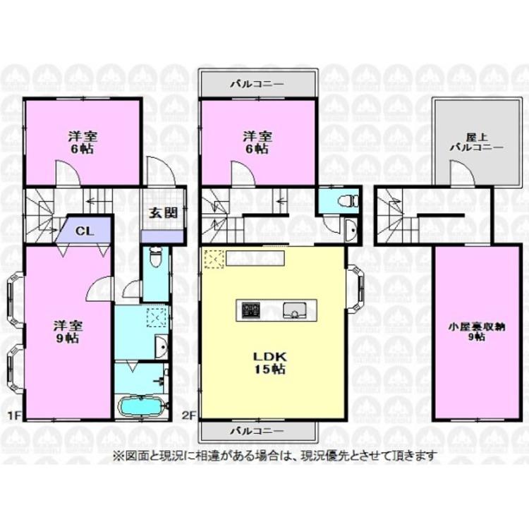 主寝室9帖の他各居室が6帖以上のゆとりの広さがある間取りになっています。眺望良好なルーフバルコニーも魅力的です!