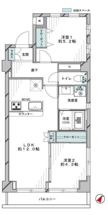 南東角部屋。全居室開口部があり日当たり・通風良好です