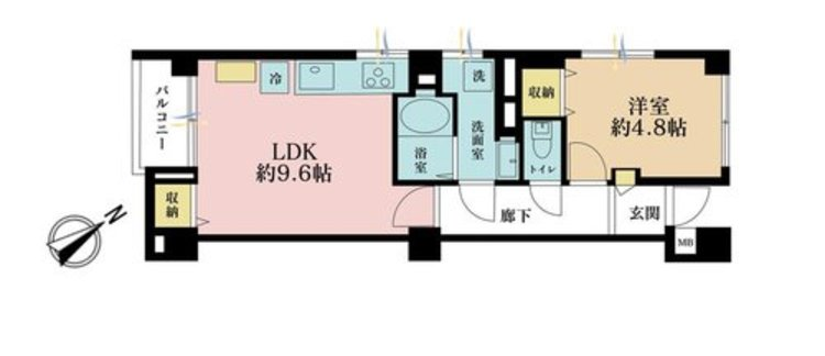 1LDK、価格3680万円、専有面積38.38m2、バルコニー面積2.75m2