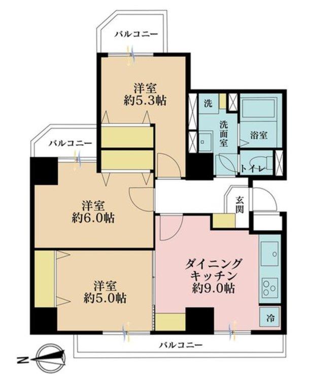 3DK、価格3880万円、専有面積60.26m2、バルコニー面積8.81m2