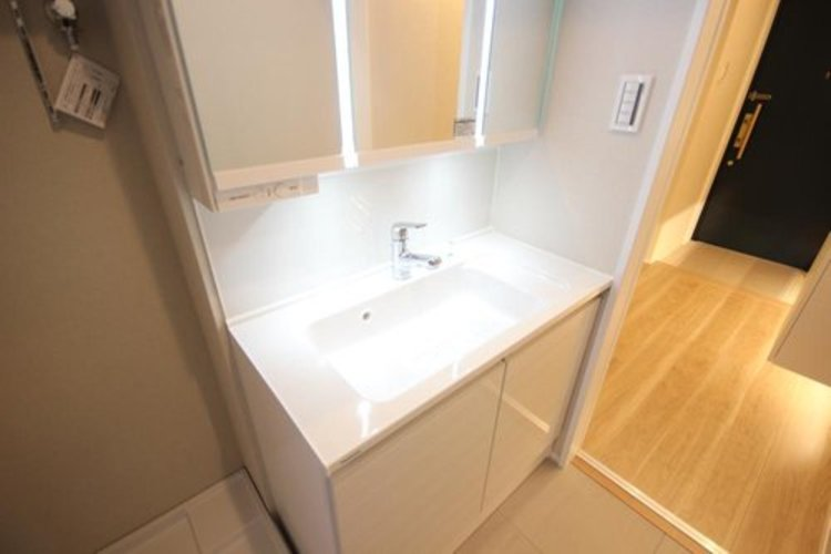 大型の洗面ボウルと、シャンプーができるシャワーが付いた洗面台なら、毎朝のシャンプーも楽々。ボウル全体をお掃除するときも便利です。