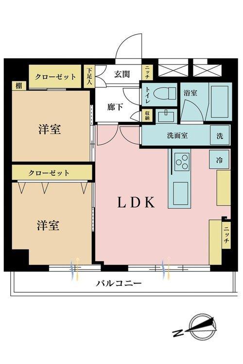 2LDK、価格3180万円、専有面積53.9m2、バルコニー面積6.24m2