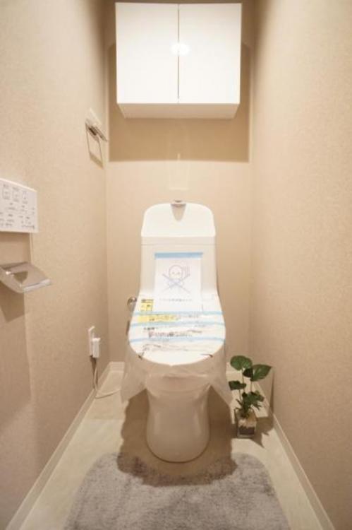 節水効果がありお手入れがしやすいタンク一体型トイレを採用しました。