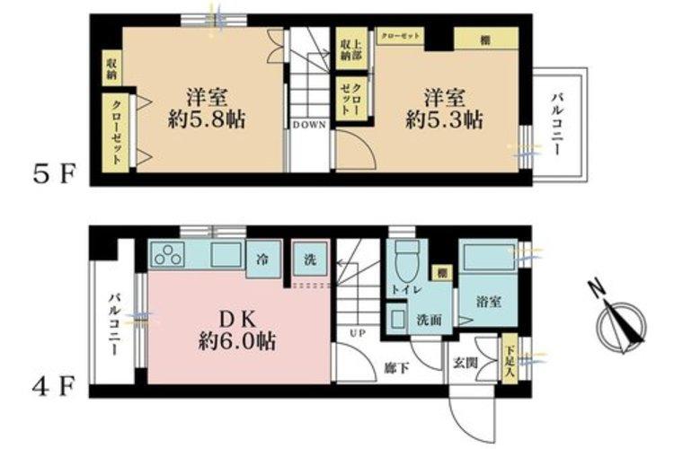 2DK、価格2080万円、専有面積44.15m2、バルコニー面積4.52m2