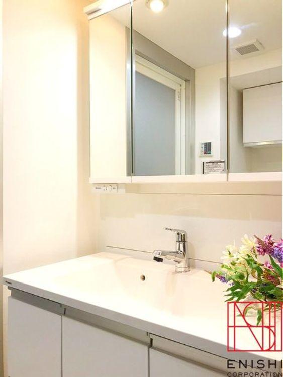 Panasonic製の独立型洗面化粧台。シャワー付きで忙しい朝に活躍してくれます。